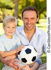 suo, gioco football, padre, figlio, secondo
