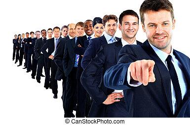 suo, gruppo, indicare, affari, dito, lei, condottiero, row.