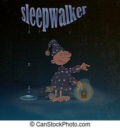 suo, improvvisato, scuro, cartone animato, fondo., prese, sofferenza, sleepwalking, lampada, illustrazione, leva piedi, carattere, vettore, mano., malvestito