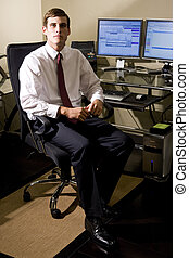 suo, lavoratore, giovane, scrivania ufficio