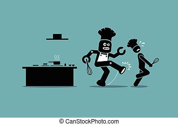 suo, lontano, robot, kitchen., chef, lavoro, umano, calci