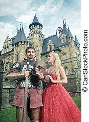 suo, medievale, cavaliere, fondo., lady., amato, antico, castello