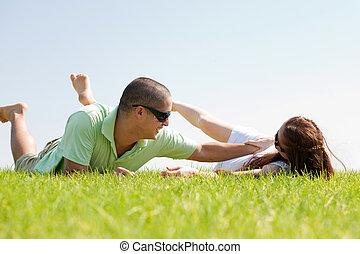 suo, moglie, giovane, erba, gioco, uomo