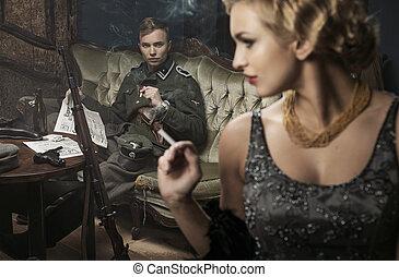 suo, moglie, tedesco, soldato, fumo, bello