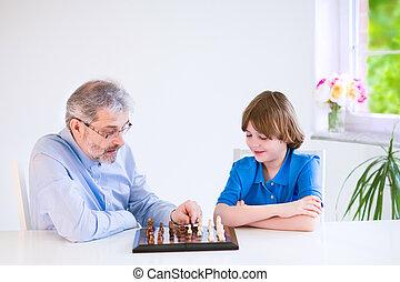 suo, nipote, nonno, scacchi, gioco, felice