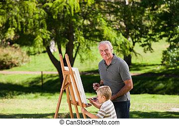 suo, nonno, nipote, painti