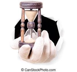 suo, orologio, sabbia, guanti, dito, presa a terra, attraverso, buco, uomo