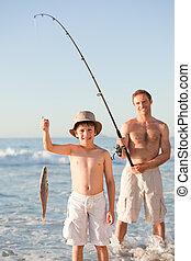 suo, padre, pesca, figlio