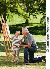 suo, pittura, giardino, nipote, nonno