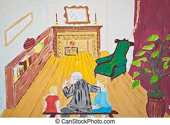suo, pittura, nonno, nipoti, bambino