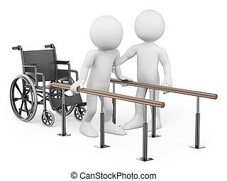 suo, recuperare, persone., uomo, bianco, lesione, 3d