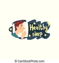 suo, sano, letto, in pausa, vettore, illustrazione, fondo, notte, sonno, bianco, uomo