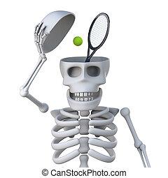 suo, scheletro, tennis, mente, ha, 3d