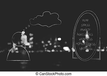 suo, sebbene, elenco, negativo, sentimenti, persona, specchio, bolla