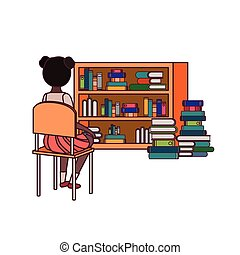 suo, sedendo sostiene, studente, ragazza, sedia