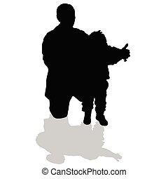 suo, silhouette, nipote, nonno, nero, presa a terra