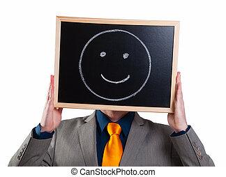 suo, smiley fronteggiano, tabellone, uomo affari, bianco,...