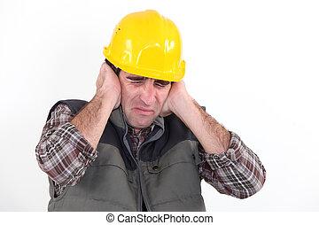 suo, sopra, lavoratore, costruzione, tenere mani, orecchie