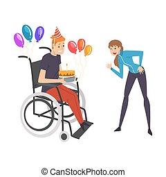 suo, sostenere, compleanno, femmina, persona, ragazza, handicappato, vettore, amico, pieno, sostegno, festeggiare, lei, godere, illustrazione uomo, vita, carrozzella, amicizia