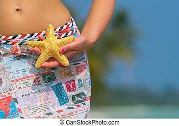 suo, starfish, viaggiare, giovane, mano, b, presa a terra, ragazza, concept.