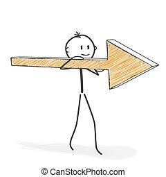 suo, stickman, figura, -, bastone, icona freccia, cartone animato, shoulder.