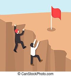 suo, successo, raggiungere, uomo affari, arrampicarsi, scogliera