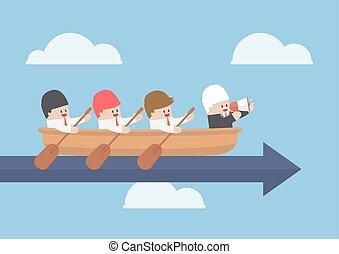 suo, successo, squadra rowing, uomo affari, anziano