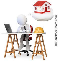 suo, ufficio, persona affari, isolato, nuovo, fondo., computer, sognare, casa, bianco, 3d, tavola., image.