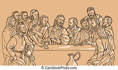 suo, ultimo, cristo, gesù, discplles, salvatore, cena