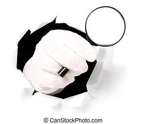 suo, vetro, guanti, dito, presa a terra, attraverso, buco, ingrandendo, uomo