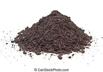 suolo, bianco, mucchio, isolato,  humus