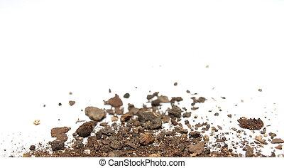suolo, bianco, mucchio, isolato