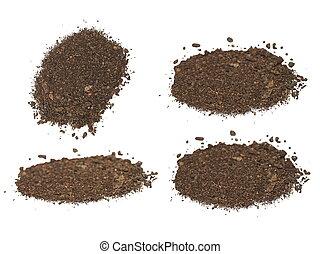 suolo, bianco,  set, mucchio, isolato