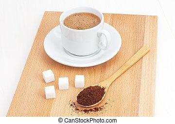 suolo, caffè, in, uno, cucchiaio legno, tavola