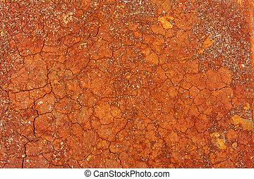 suolo, fesso, sfondo rosso