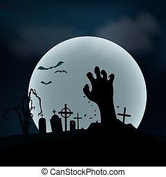 suolo, halloween, mano, zombie, fondo., vettore, salita, fuori