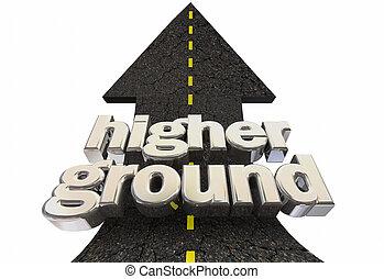 suolo, illustrazione, superiorità, morale, freccia, sicurezza, più alto, strada, 3d