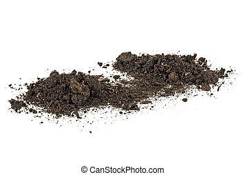 suolo, mucchio, isolato, bianco, fondo., dirt.