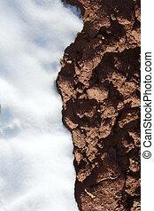 suolo, neve, struttura, fango, argilla rossa, contrasto