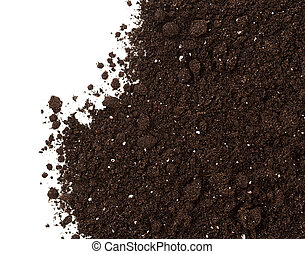 suolo, o, sporcizia, raccolto, isolato, bianco, fondo