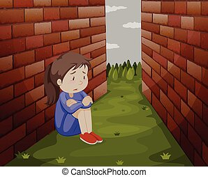 suolo, ragazza, triste, seduta