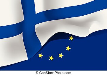 Suomi national waving flag on european union background
