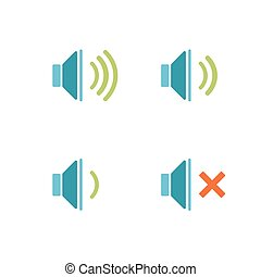 suono, bianco, isolato, fondo, icone