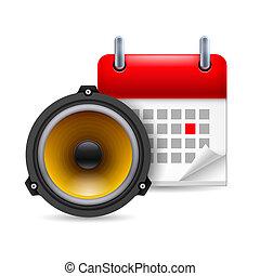 suono, calendario, altoparlante