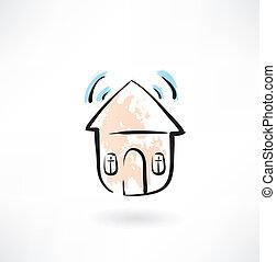 suono, casa, grunge, icona