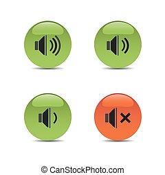 suono, colorato, icone, bottoni, fondo, bianco