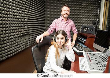 suono, con esperienza, coppia, studio registrazione, ingegneri