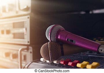suono, controllo, microfono, concerto, due, retroscena