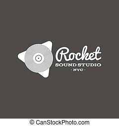 suono, distintivo, emblema, razzo, isolato, illustrazione, scuro, vettore, etichetta, fondo, studio, instrument., logotipo, musicale, casato
