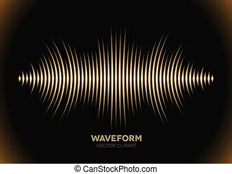 suono, forma onda, sepia